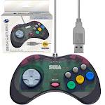 Retro-bit Official Sega Saturn USB Controller Pad for Sega Genesis Mini, PC, Mac, Steam, RetroPie, Raspberry Pi - USB Port - Slate Grey