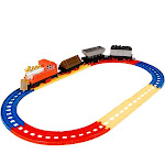 Juvale Railroad Train Set - 12-Piece Railway Train Track and Car Playset, and Educational Toy for Kids, Oval Train Track, Best Gift for Children, 22 x