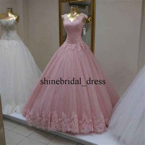 vintage princess pink wedding formal prom ball gown