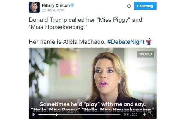 Screen grab of tweet posted by Hillary Clinton with a video in which Alicia Machado claims she was called