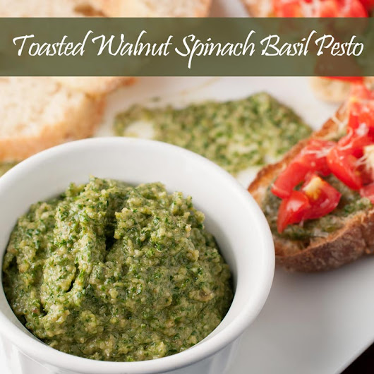 Homemade Toasted Walnut Spinach Basil Pesto