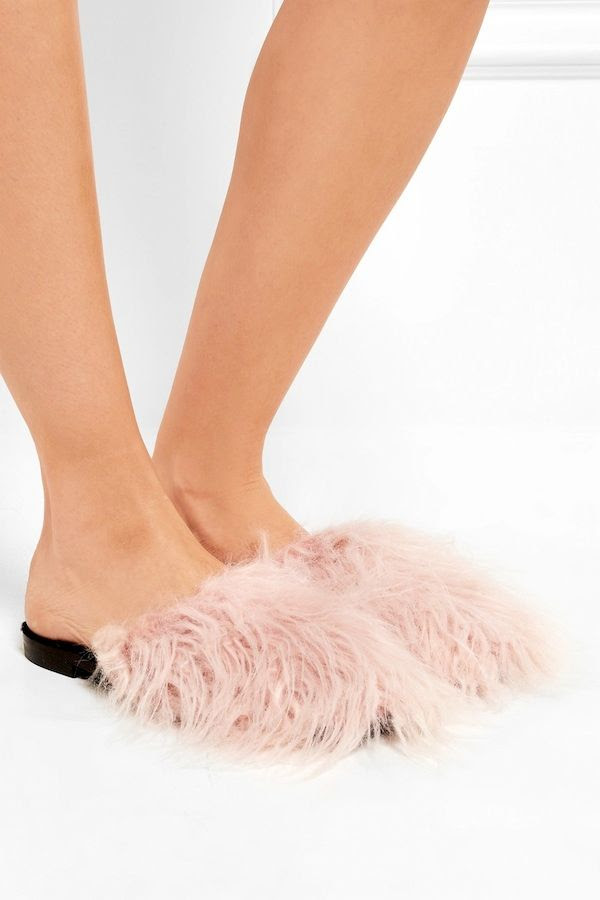 Le Fashion Blog Furry Flats Avec Moderation Pink Mongolian Fur Slippers