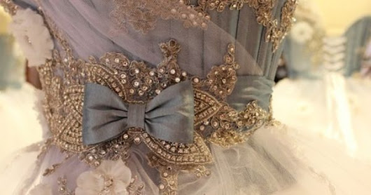 A Cinderella-like ball gown with blue corset covered in beaded embroidery. Would look pretty with some seed pearls added | Now THAT's a Dress! | Pinterest | Ba…