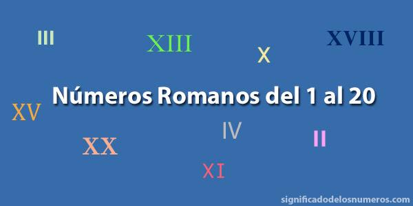 Números Romanos Del 1 Al 20 Numeración Romana Hasta El 20