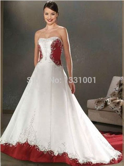 Cheap Red And White Wedding Dresses 2016 New Fashion Sexy