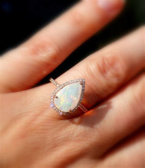 Opal Engagement Ring, Opal and Diamond Ring, Welo Opal