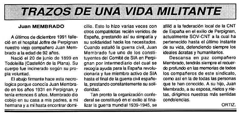 """Necrològica de Joan Membrado Querol apareguda en el periòdic tolosà """"Cenit"""" del 4 de febrer de 1992"""