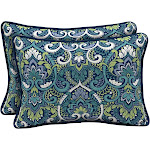 Arden Selections Sapphire Aurora Damask 15 x 22 in. Outdoor Large Lumbar Pillow, Set of 2, Blue