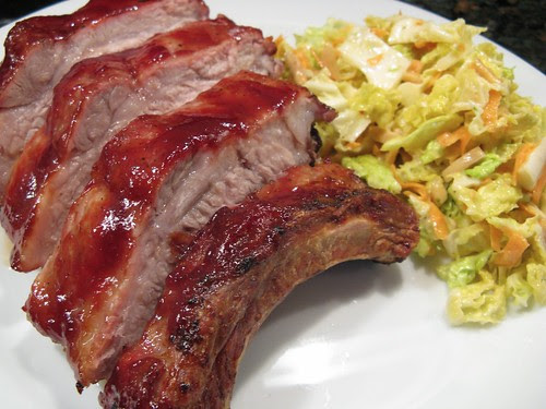 Raspberry Lime Glazed Ribs with Tangy Almond Slaw