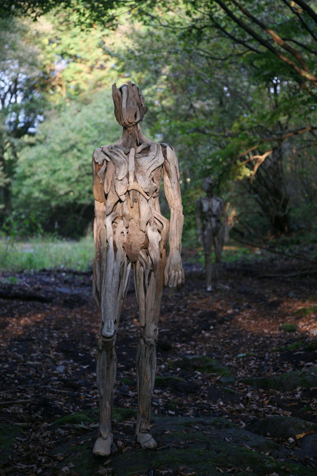 As inquietantes esculturas feitas com detrito de madeira no meio de bosque pelo japonês Nagato Iwasaki 13