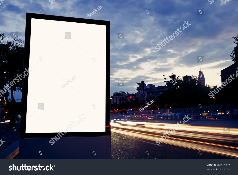Illuminated Blank Billboard Copy Space Your Stock Photo 282566837 ...