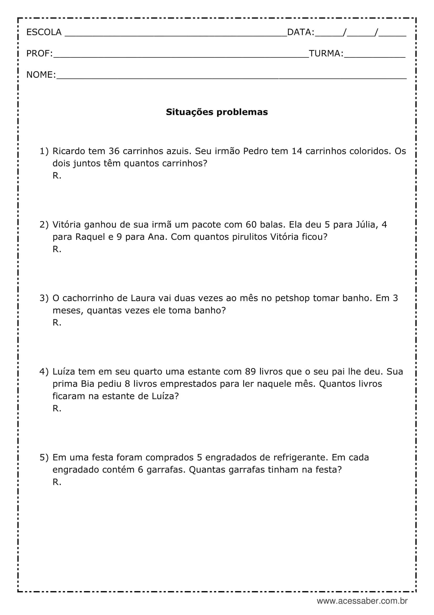 Atividade De Matematica Situacoes Problema 4º Ano Acessaber