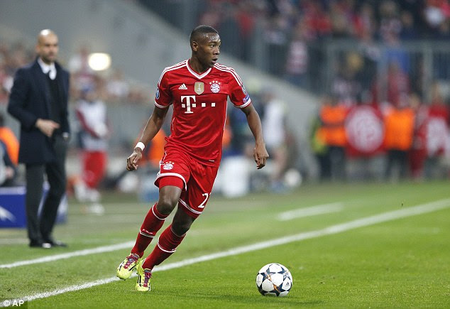 Wild: David Alaba was another who irked Guardiola after he shot when the Spaniard wished he hadn't