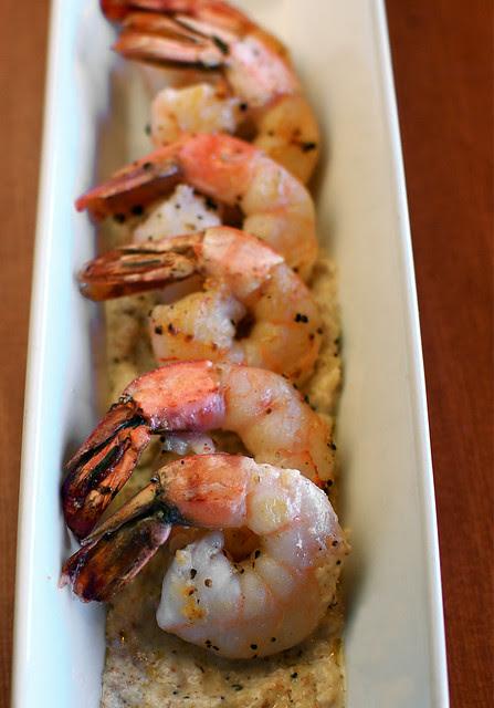 seared shrimp with garlic-almond sauce