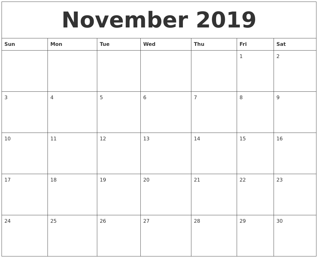 november 2019 printable calendar pages