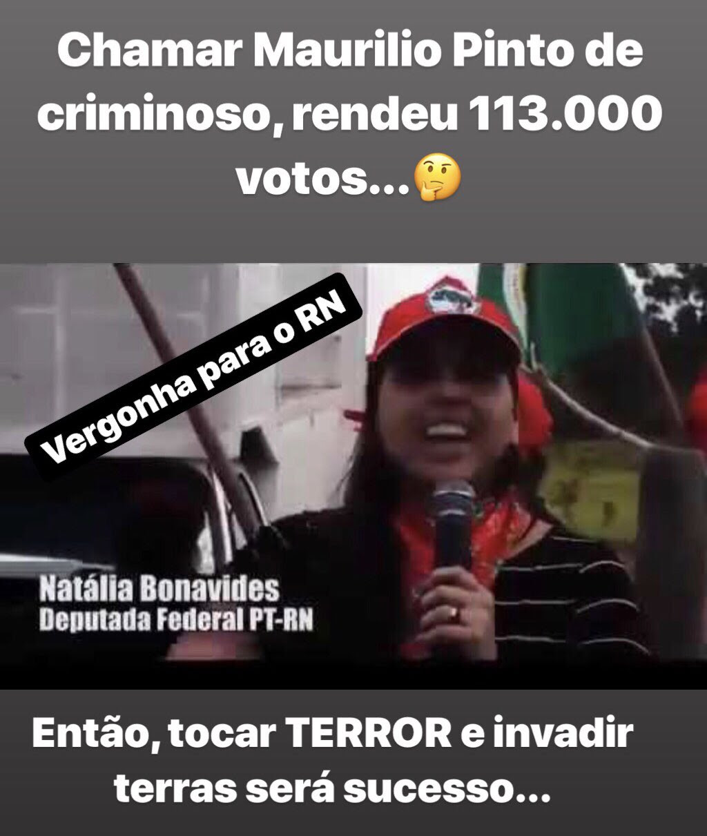 """Vereador detona deputada por invadir terras junto com MST: """"Vergonha para RN"""""""