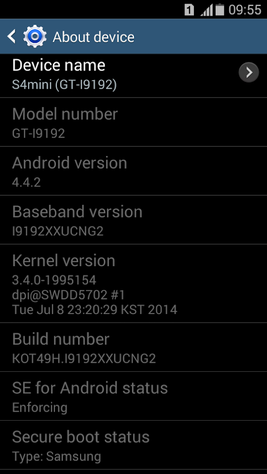 Android Kitkat update for Samsung Galaxy S4mini Duos
