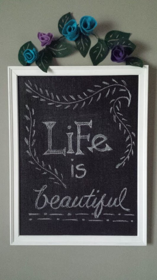 Chalkboard With Floral Garland DIY · Fancymomma