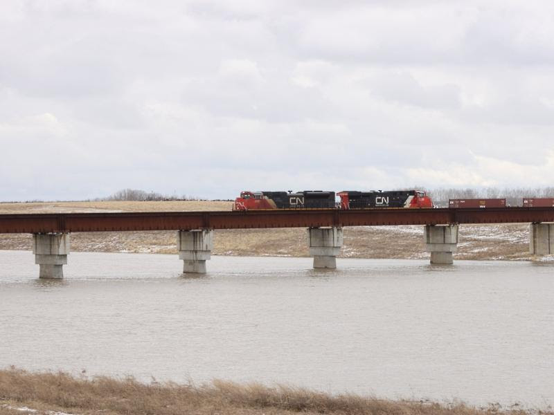 CN 8000 over the Floodway