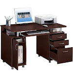 Techni Mobili Complete Computer Workstation with Cabinet and Drawers, Chocolate