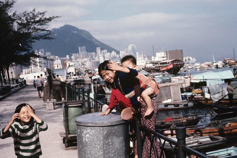 Old Hong Kong- Aberdeen waterfront in 1969