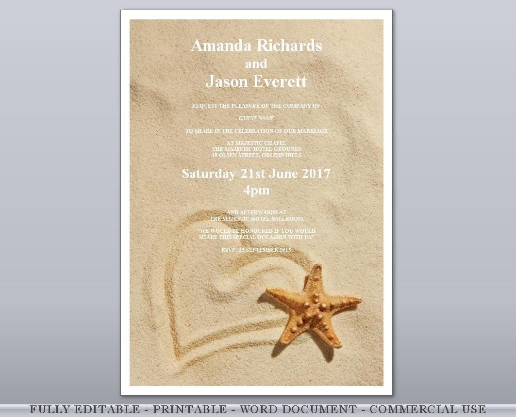 Heart in Sand Starfish Beach Editable Printable por InvitingAffair