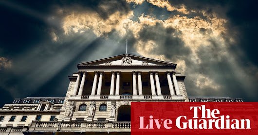 Bank of England leaves interest rates on hold and slashes growth forecast - business live | Business | The Guardian