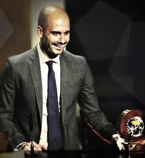 Guardiola receiving his award for Best Coach of the Year (2011)