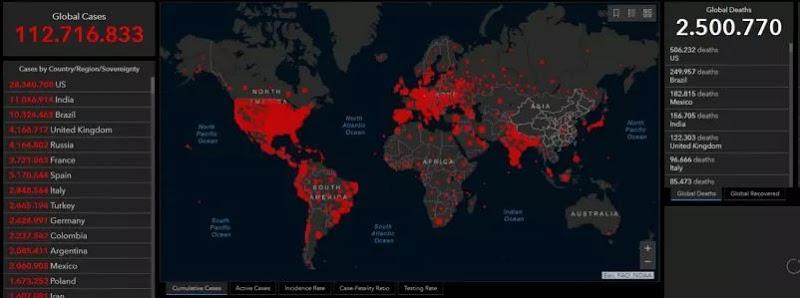 Mundo ultrapassa 2,5 milhões de mortos por Covid-19