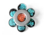 Teal and Orange Brooch, Cute Flower Pin, Silver Lapel Pin, Accessory, Retro Accessory, Metal Flower Brooch, Gift for Her - LoralynDesigns