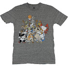Looney Tunes Mens T-Shirt - Giant Bugs Foghorn and More Basketball Group (Medium)