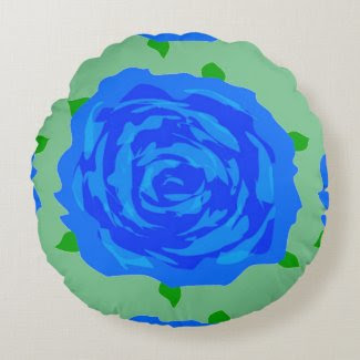 Blue Rose Design on Quality Cotton Throw Pillow