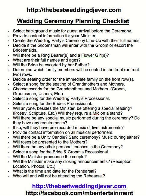1000+ ideas about Wedding Coordinator Checklist on Pinterest ...