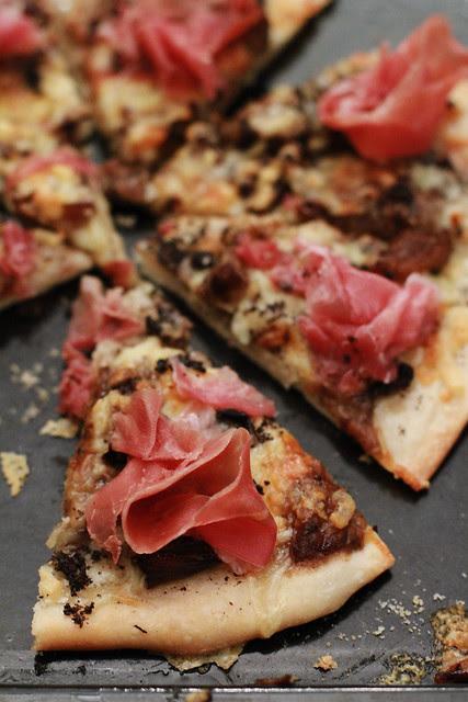 Truffle Paste, Mixed Mushrooms & Prosciutto Pizza