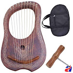 Athletin Rosewood Lyre Harp 10 Metal Strings Celtic Piping with Bag and Tuning Key