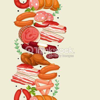 肉製品とのシームレスなパターンソーセージベーコンおよびハムのイラスト