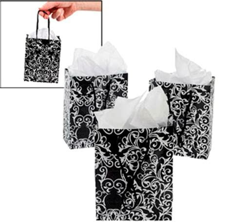 12 Small Glossy Black White Damask Scroll Gift Bags