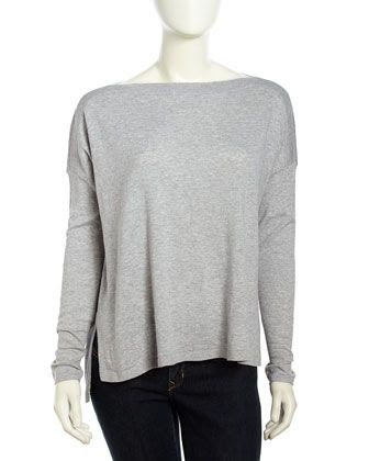 Vince Long-Sleeve Woven Bateau Sweater