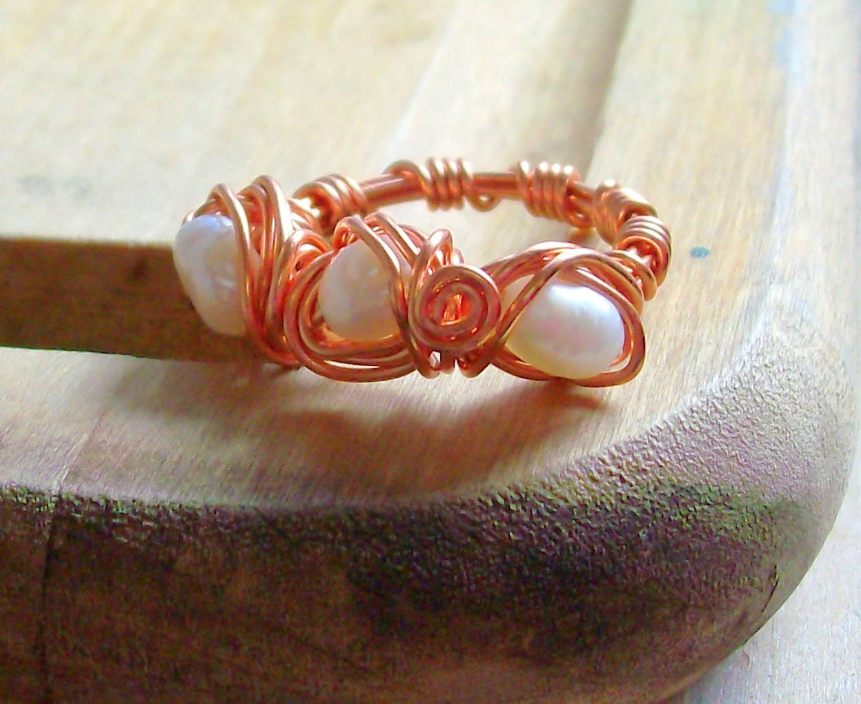 Autumn Pearl & Copper Ring - Bohemian - Rustic - Wire Wrapped - stoneandbone - Wedding