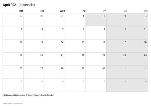 April 2021 Calendar Indonesia
