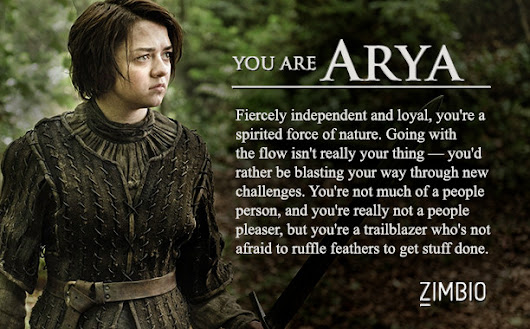 I took Zimbio's 'Game of Thrones' quiz and I'm Arya! Who are you?