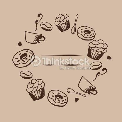 手描きのコーヒーとデザートのイラスト ベクター カード デザイン