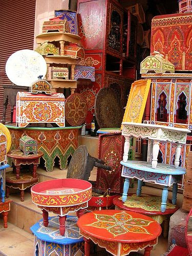 Moroccan painted Furniture. I want it all!!!!