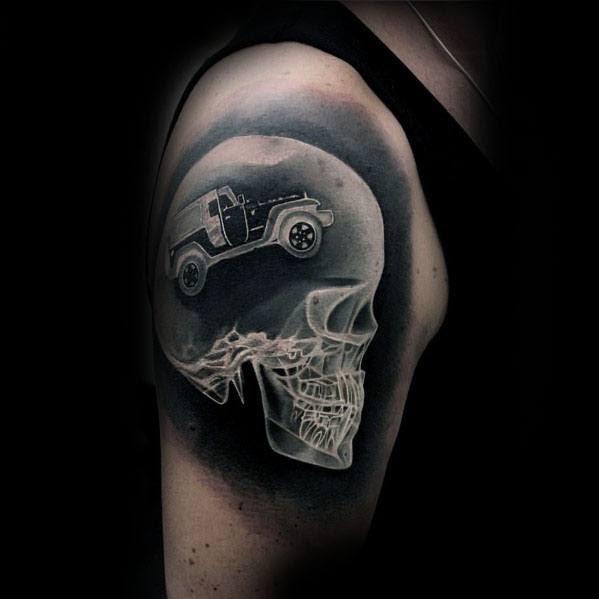 Tatuagens distintivas do braço do estilo do crânio X Ray do jipe para homens