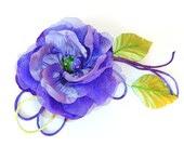 Purple green  fabric  flower  Hair Clip Brooch MADE TO ORDER Rusteam Latvia - JeannasSecretGarden