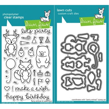 Lawn Fawn Set LF15AP ANIMAL PARTIES Clear Stamps and Dies