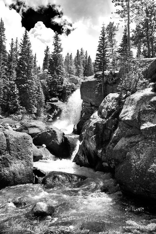 Photo Print of ALBERTA FALLS ROCKY MOUNTAIN NATIONAL PARK COLORADO BLACK AND WHITE VERTICAL Print Framed Picture Fine Art Photography Large Print Wall Decor Art For Sale Stock Image Photo Photograph High Resolution Digital Download Aluminum Metal Acrylic Canvas Framed Photo Print Buy Photo by Robert Wojtowicz Fine Art Photographer
