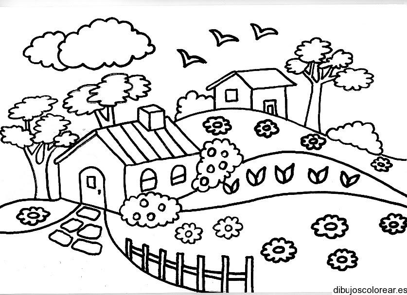 Dibujo De Casas Con Muchas Flores
