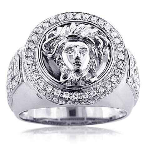 This sleek 14K gold diamond mens Versace Style ring with