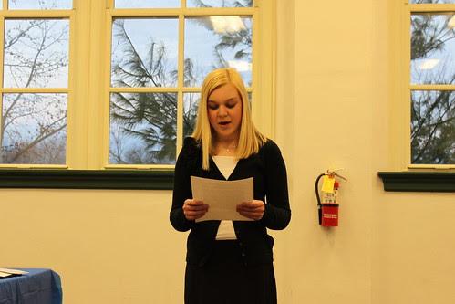 Katie reading her essay